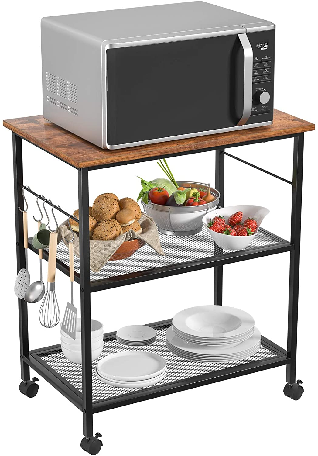 Homfio Kitchen Microwave Cart Utility Storage Rack 3 Tier Baker S Rack End Side Table Storage Office Shelf Lamp Table Rolling Cart With Wheels And 5 Hooks For Living Room Bedroom Furniture Berkeley Technology
