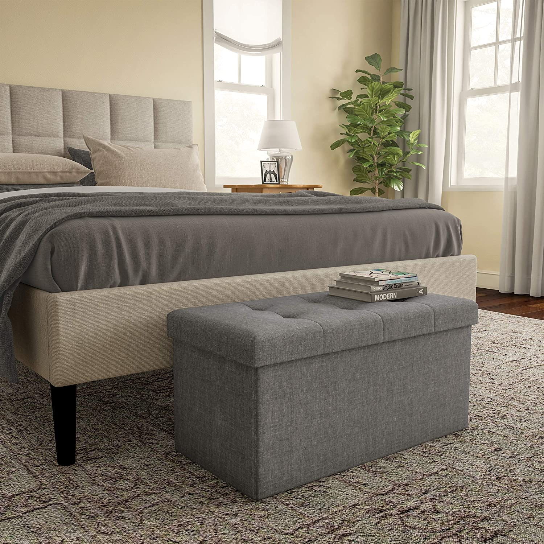 lavish home large folding storage bench ottoman  tufted